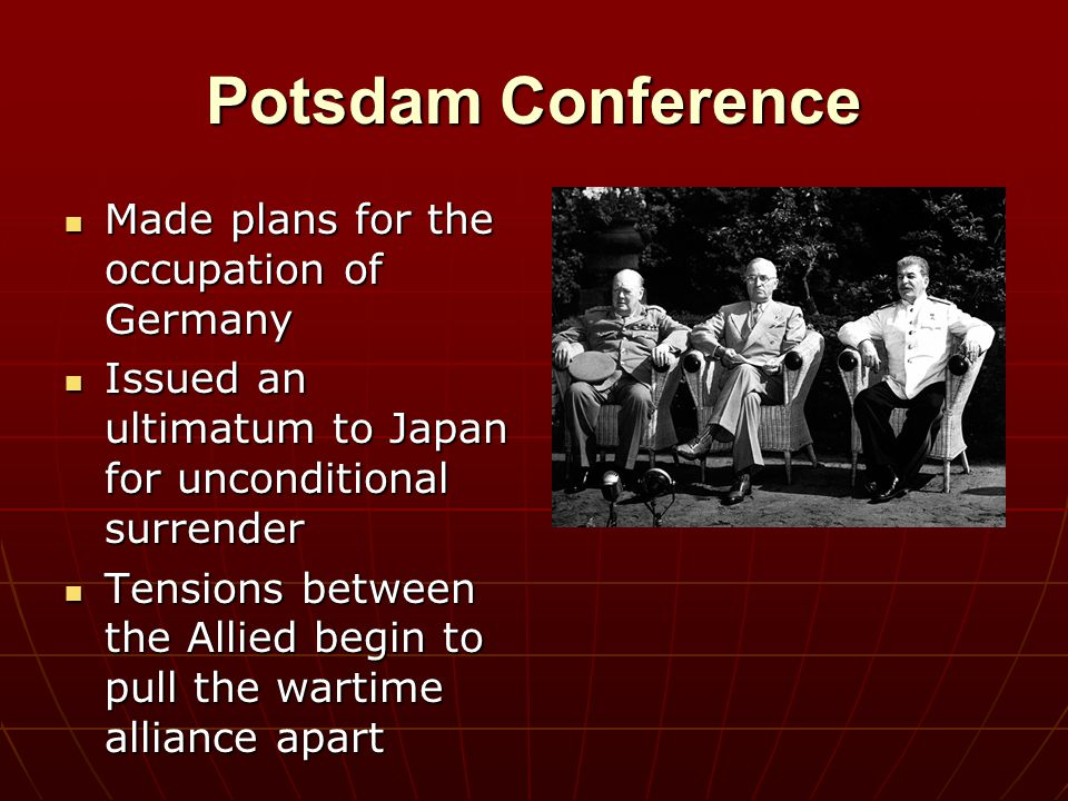 Potsdam Conference Made plans for the occupation of Germany