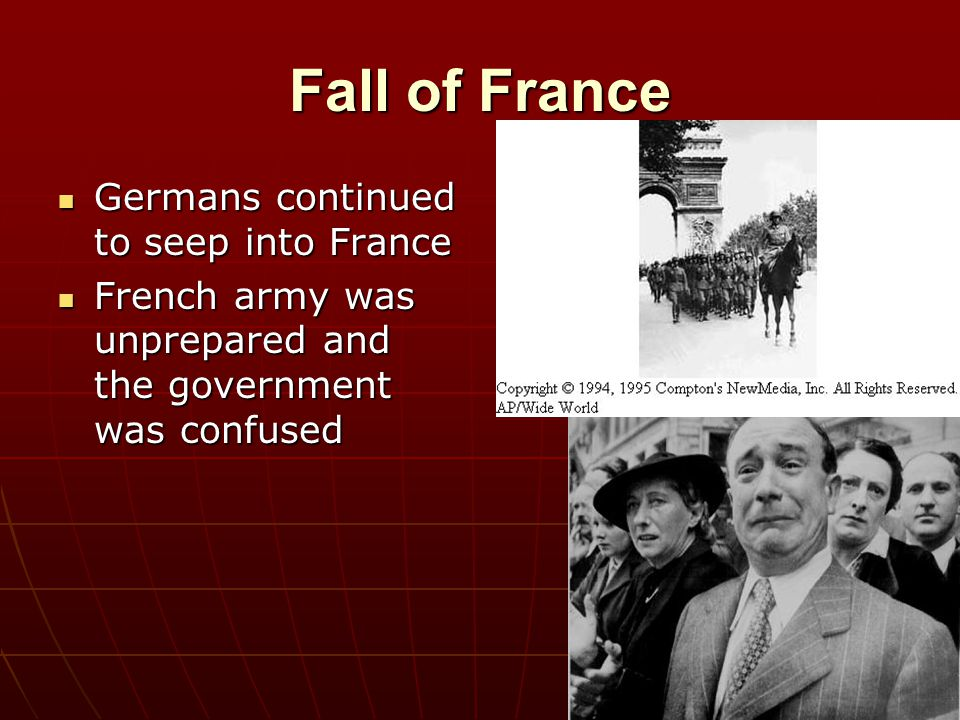 Fall of France Germans continued to seep into France