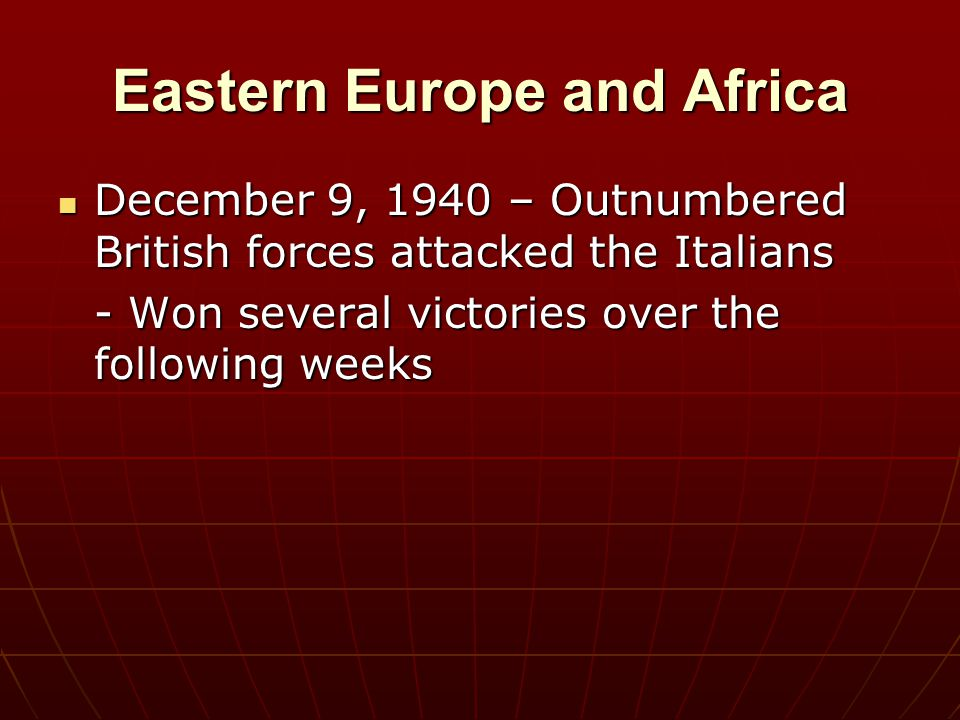 Eastern Europe and Africa