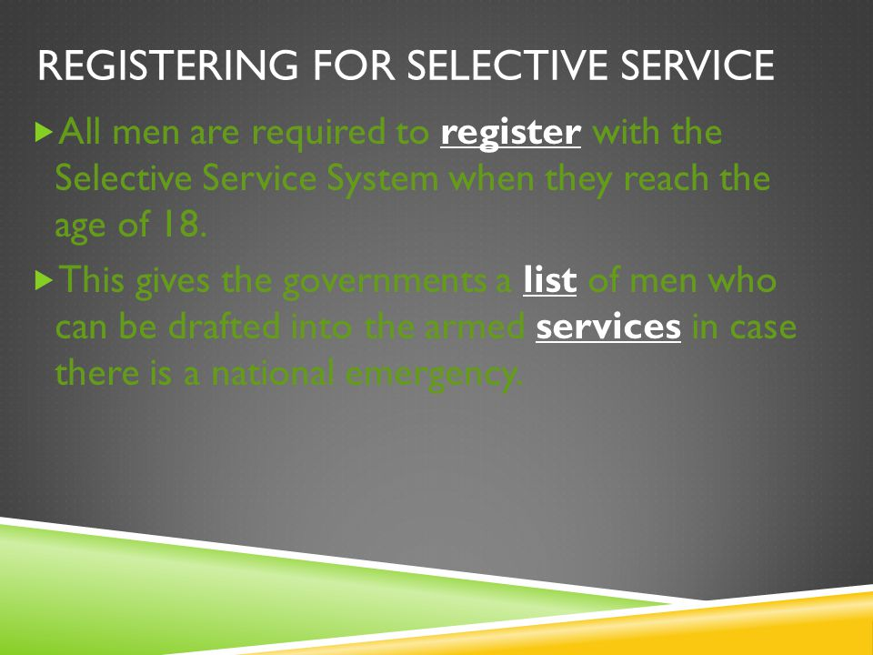 Registering for selective service