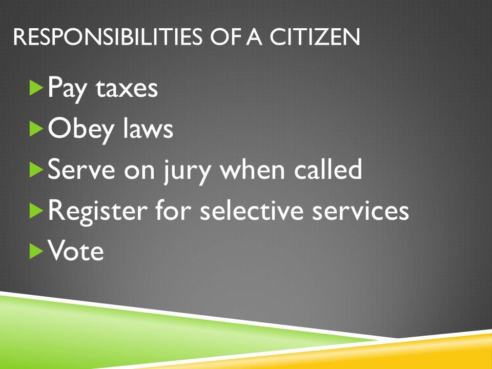 Responsibilities of a citizen