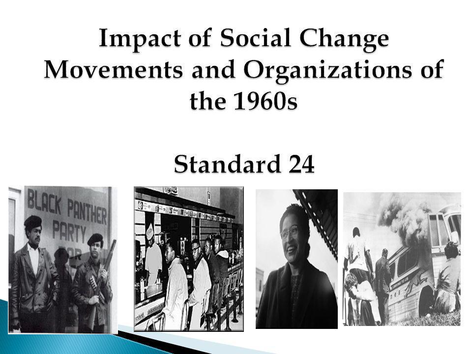 Impact of Social Change Movements and Organizations of the 1960s Standard 24