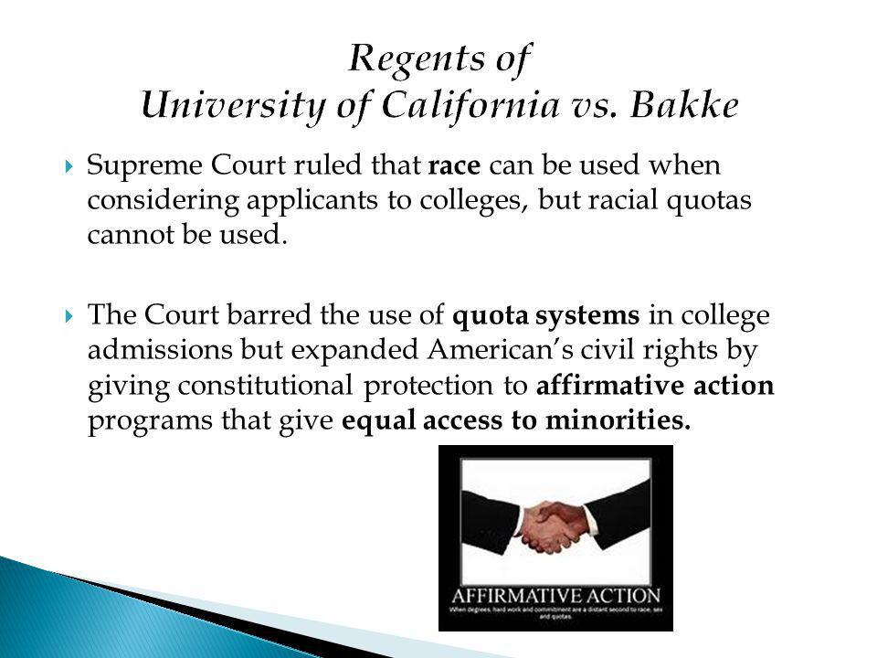 Regents of University of California vs. Bakke