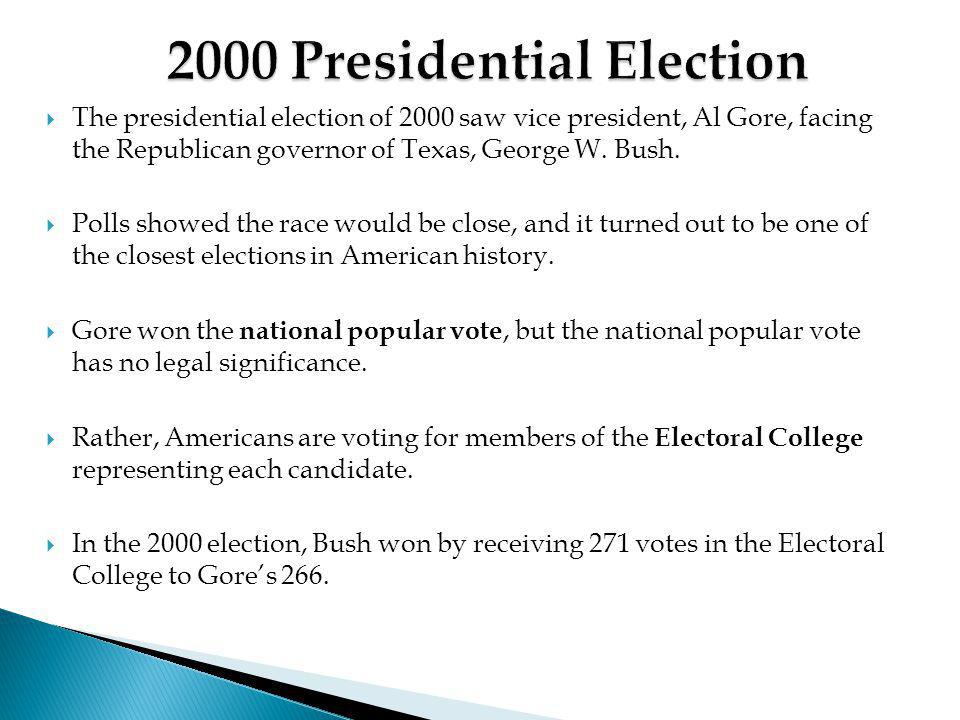 analysis of the 2000 presidential election george w bush vs al gore George w bush won his home state with 59 percent of the vote, vice  waved  blue gore/lieberman 2000 signs and nearly everyone wore gore  last week,  vice president al gore '69 abruptly moved his campaign  news analysis:  khurana's welcome email to students is normally short and sweet.