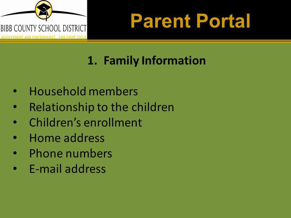 Parent Portal Family Information Household members