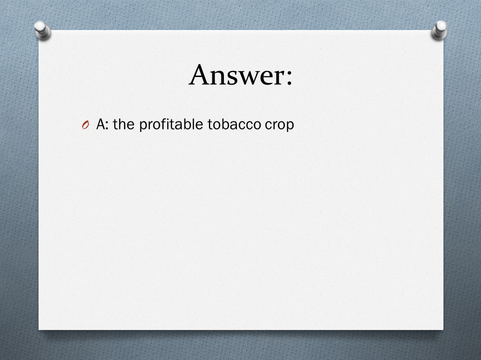 Answer: A: the profitable tobacco crop