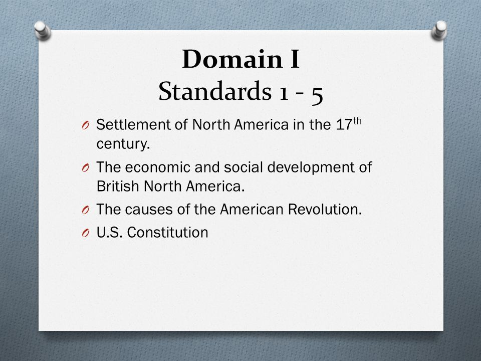 Domain I Standards 1 - 5 Settlement of North America in the 17th century. The economic and social development of British North America.