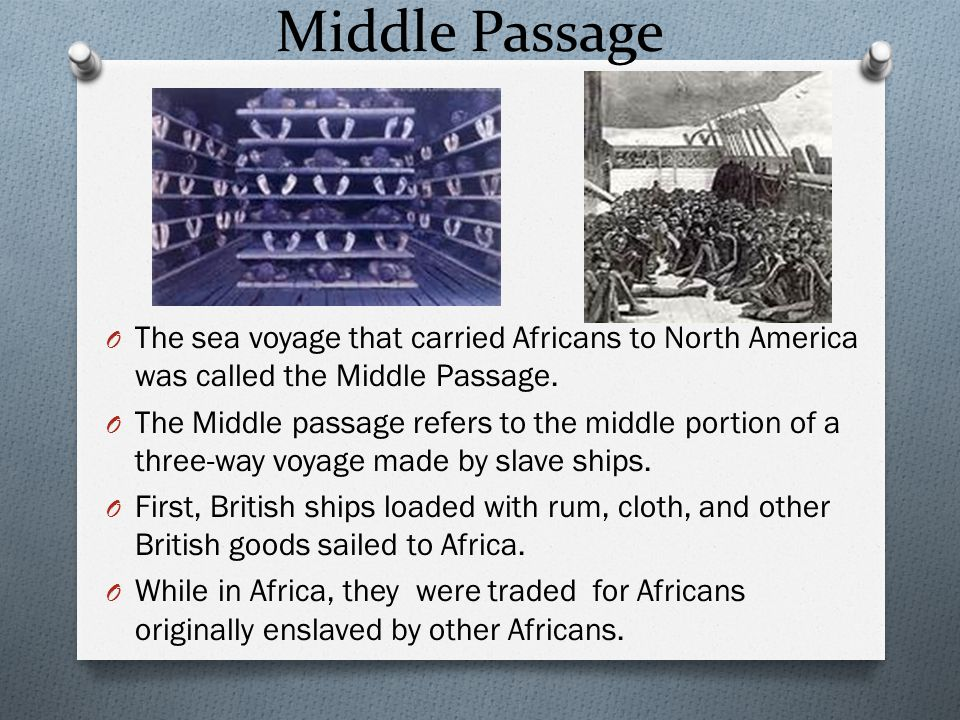 Middle Passage The sea voyage that carried Africans to North America was called the Middle Passage.