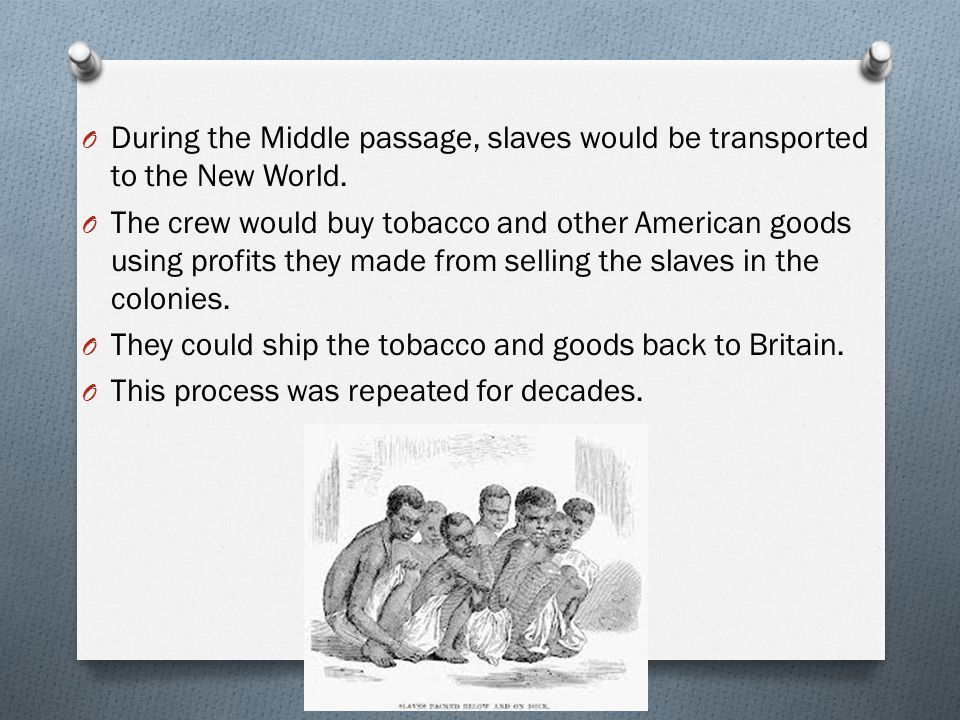 During the Middle passage, slaves would be transported to the New World.