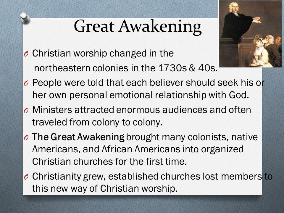 Great Awakening Christian worship changed in the