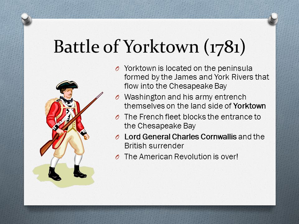 Battle of Yorktown (1781) Yorktown is located on the peninsula formed by the James and York Rivers that flow into the Chesapeake Bay.