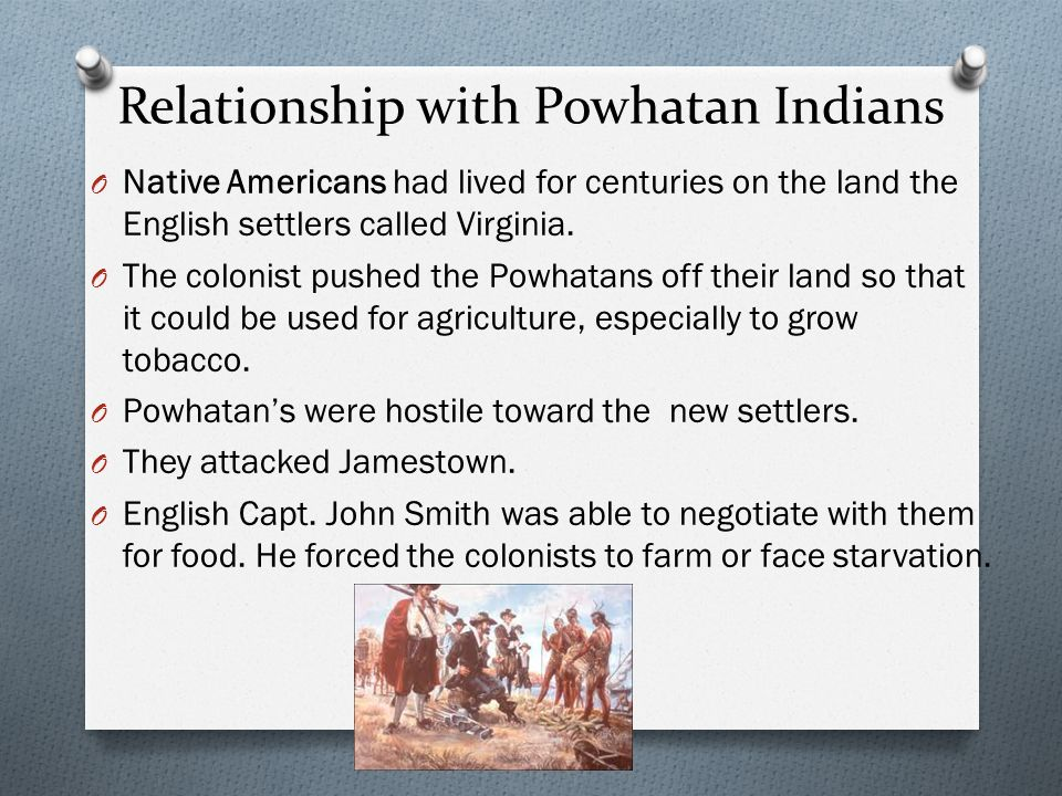Relationship with Powhatan Indians