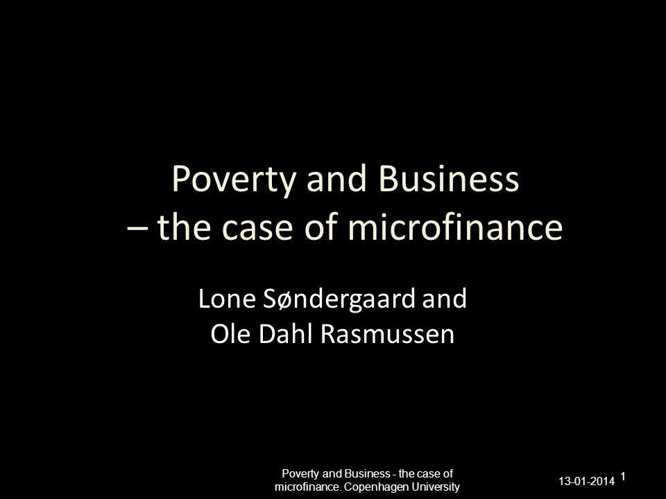 Poverty and Business – the case of microfinance