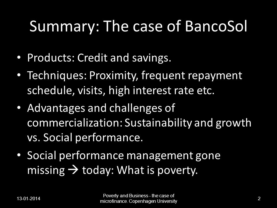 Summary: The case of BancoSol