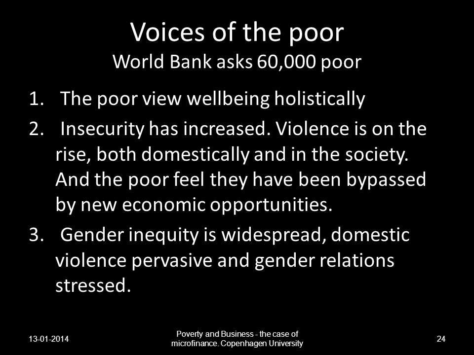 Voices of the poor World Bank asks 60,000 poor