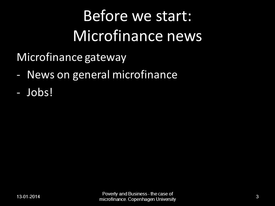 Before we start: Microfinance news