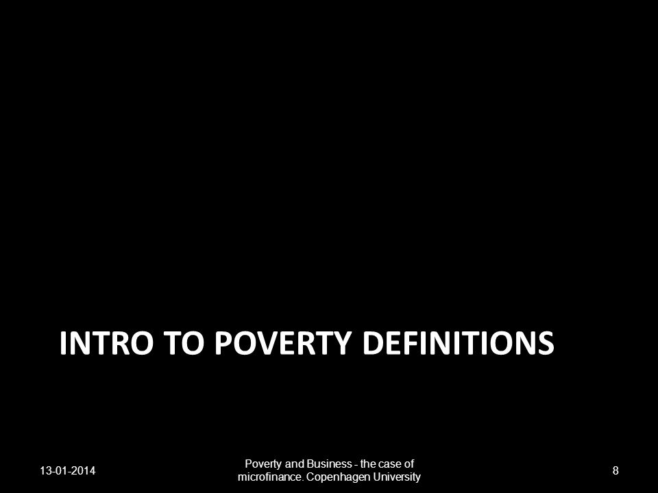 Intro to poverty definitions