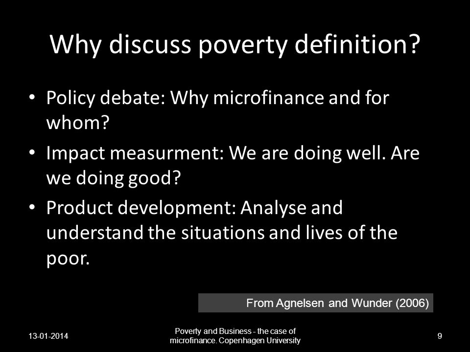 Why discuss poverty definition