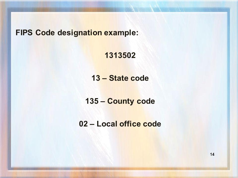 FIPS Code designation example: