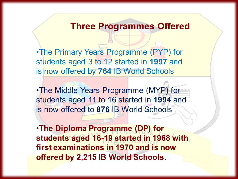 Three Programmes Offered