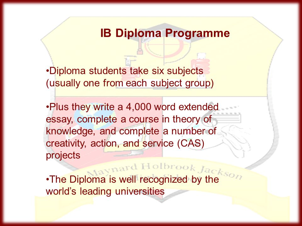 IB Diploma Programme Diploma students take six subjects (usually one from each subject group)