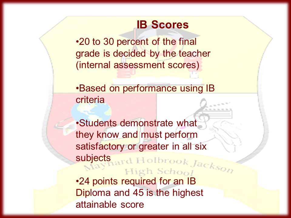 20 to 30 percent of the final grade is decided by the teacher (internal assessment scores)