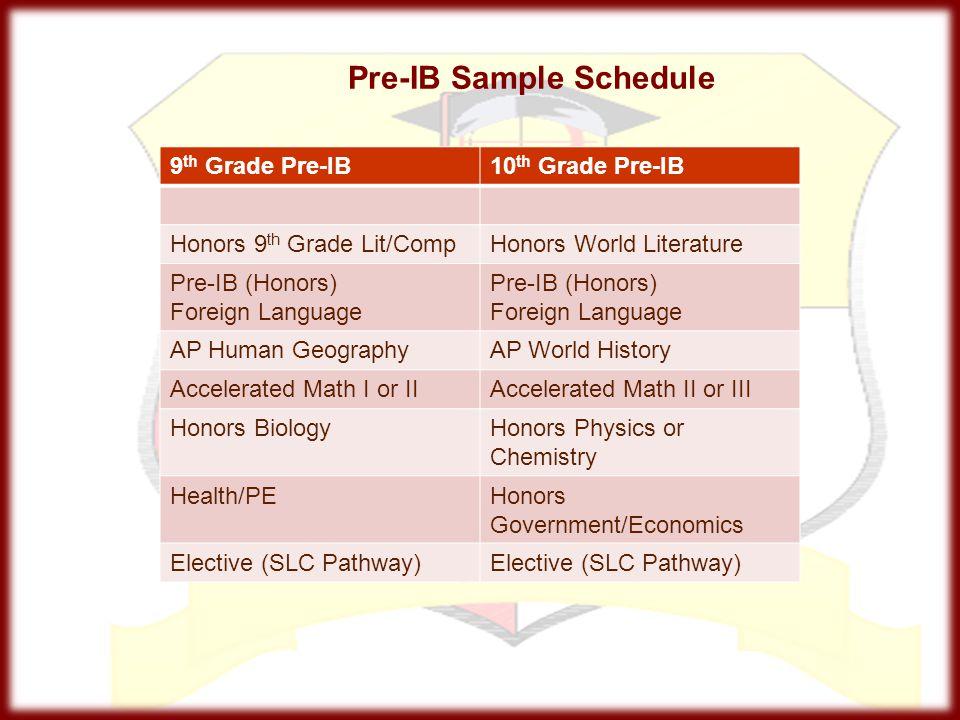 Pre-IB Sample Schedule
