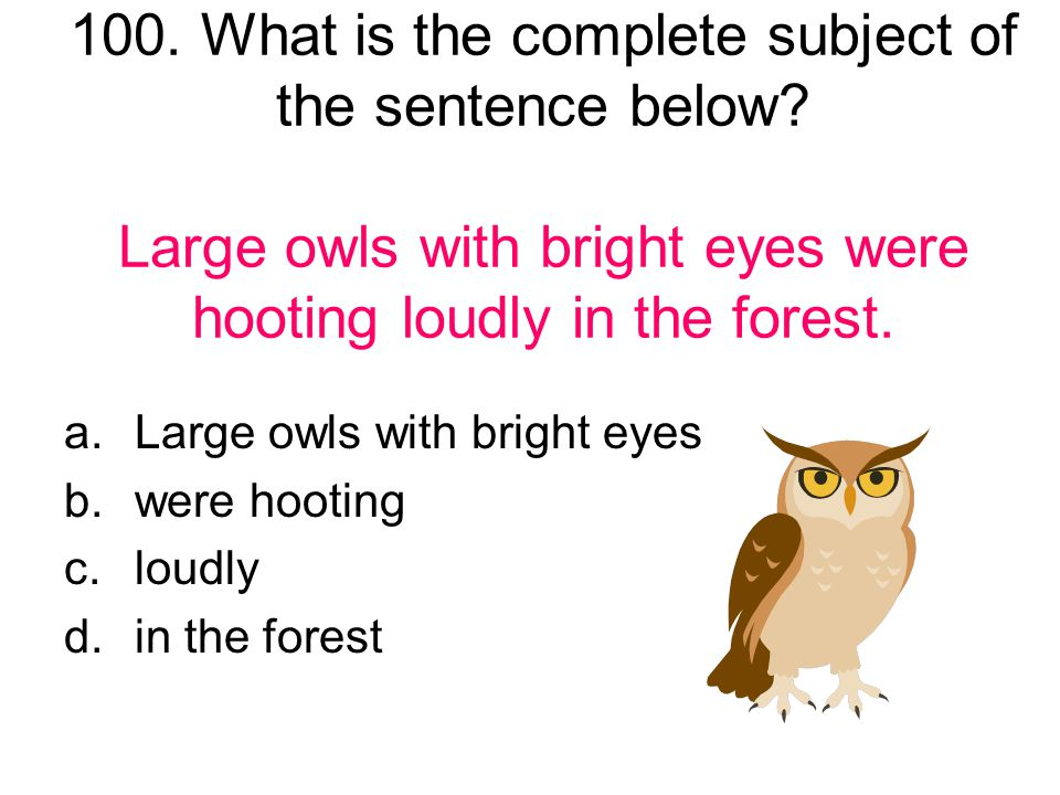 100. What is the complete subject of the sentence below