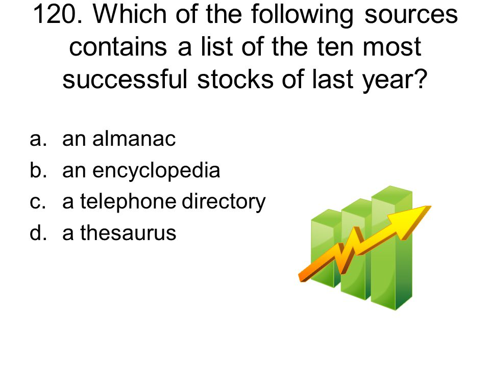 120. Which of the following sources contains a list of the ten most successful stocks of last year