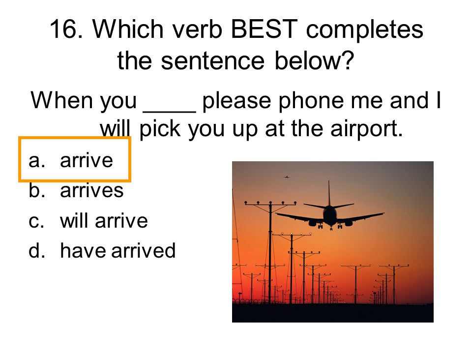 16. Which verb BEST completes the sentence below