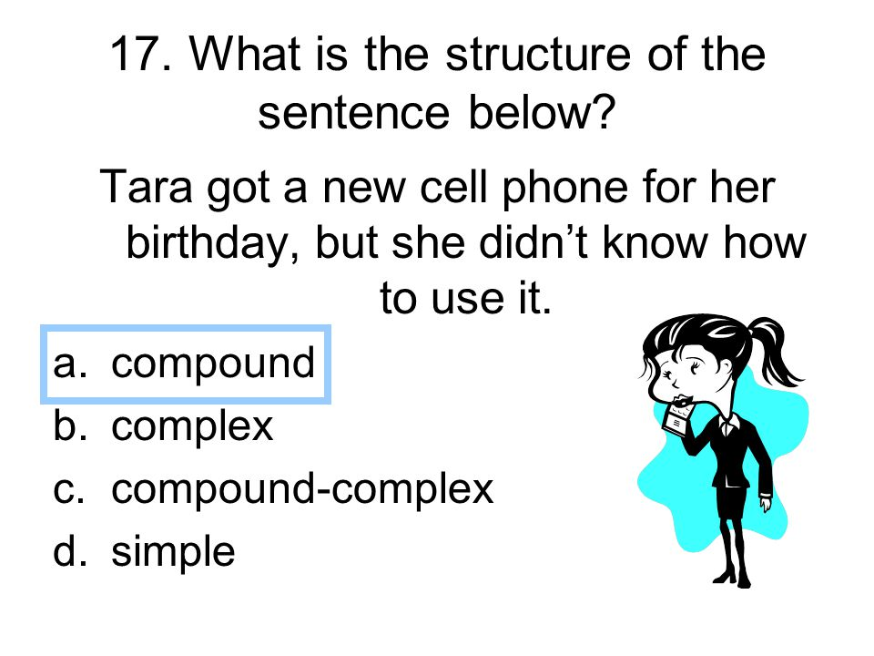 17. What is the structure of the sentence below