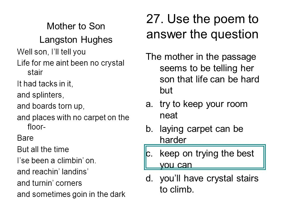27. Use the poem to answer the question