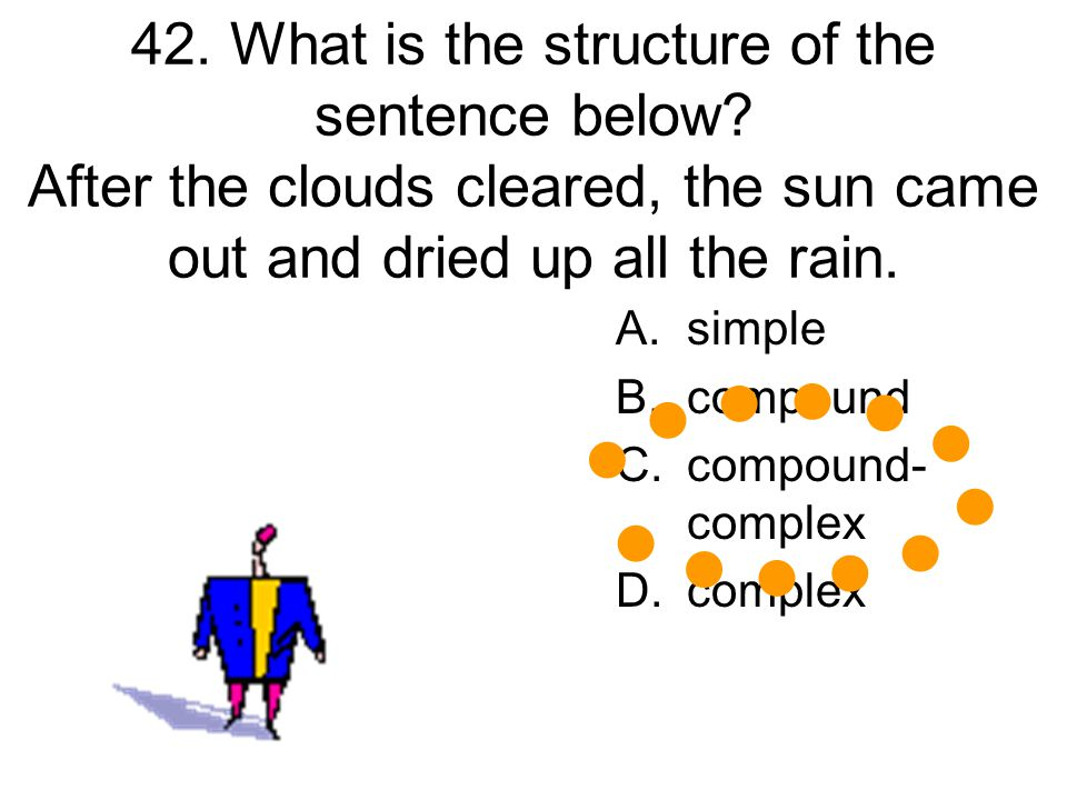 42. What is the structure of the sentence below