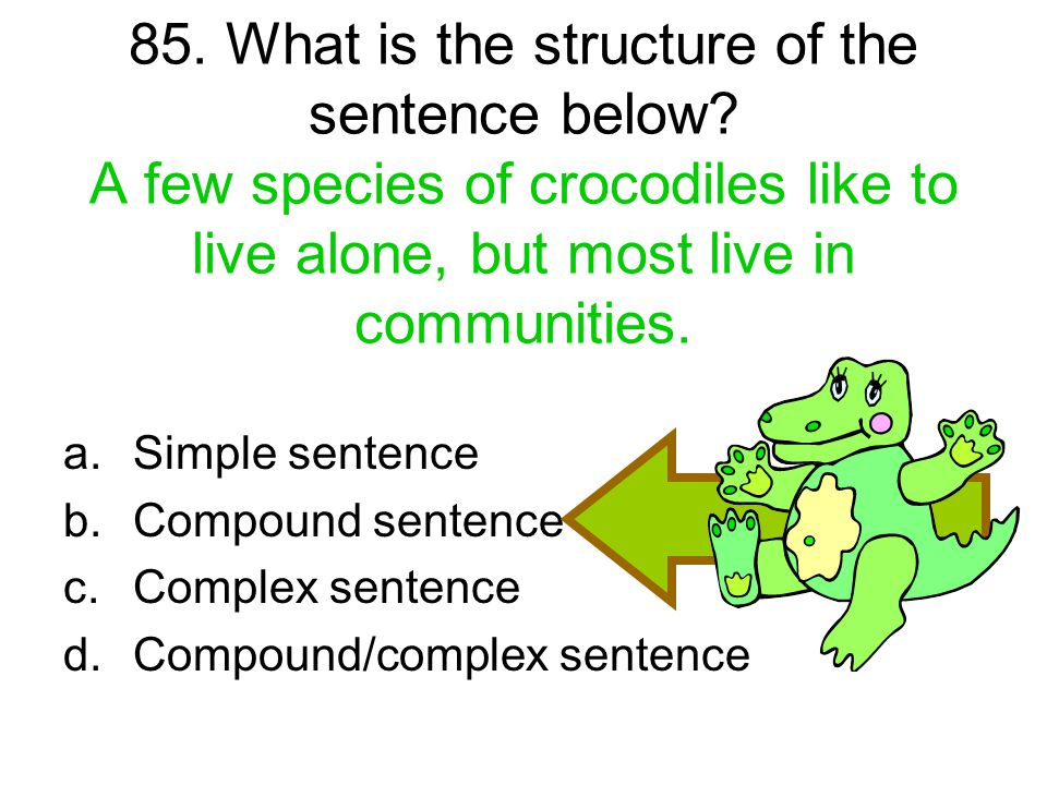85. What is the structure of the sentence below