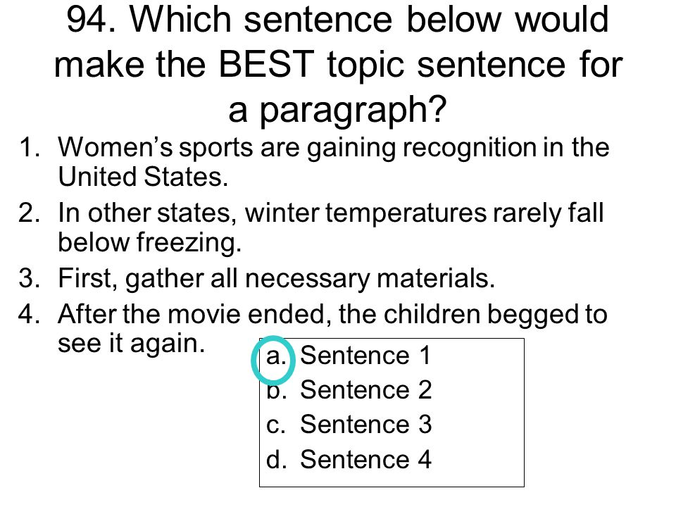 94. Which sentence below would make the BEST topic sentence for a paragraph