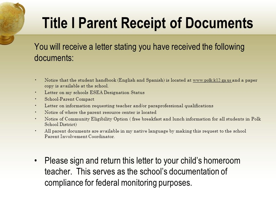 Title I Parent Receipt of Documents