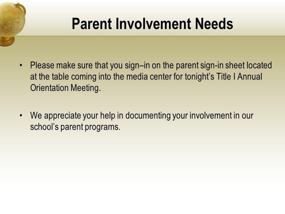 Parent Involvement Needs