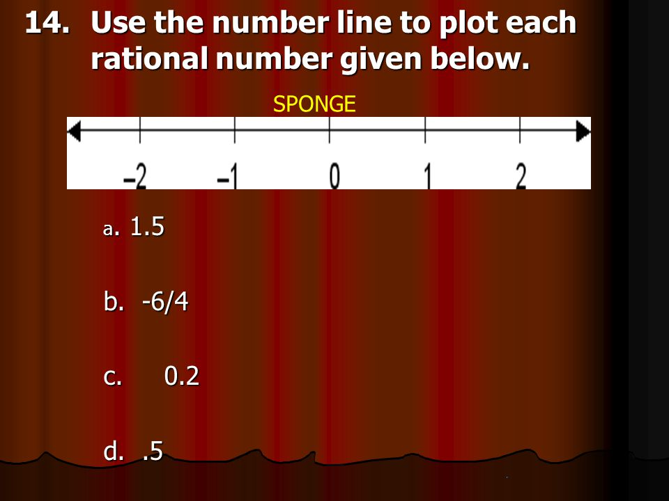 14. Use the number line to plot each rational number given below.