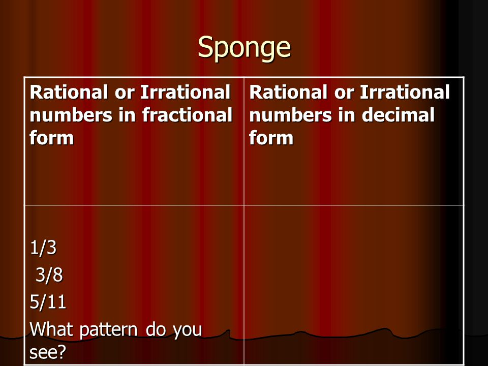 Sponge Rational or Irrational numbers in fractional form