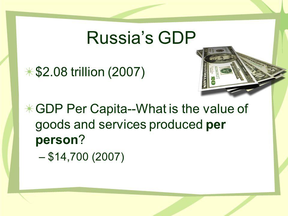 Russia's GDP $2.08 trillion (2007)