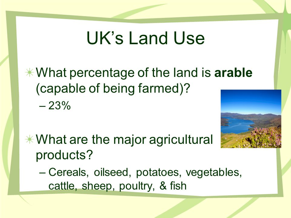 UK's Land Use What percentage of the land is arable (capable of being farmed) 23% What are the major agricultural products