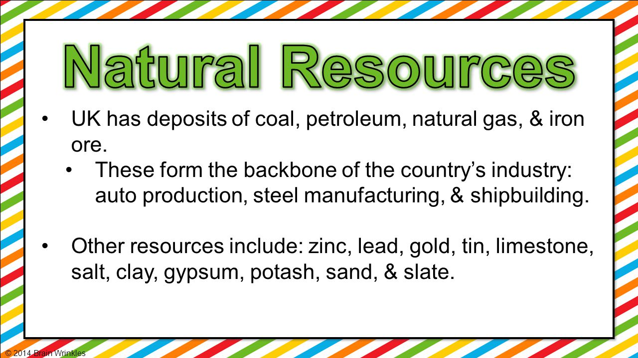 Natural Resources UK has deposits of coal, petroleum, natural gas, & iron ore.