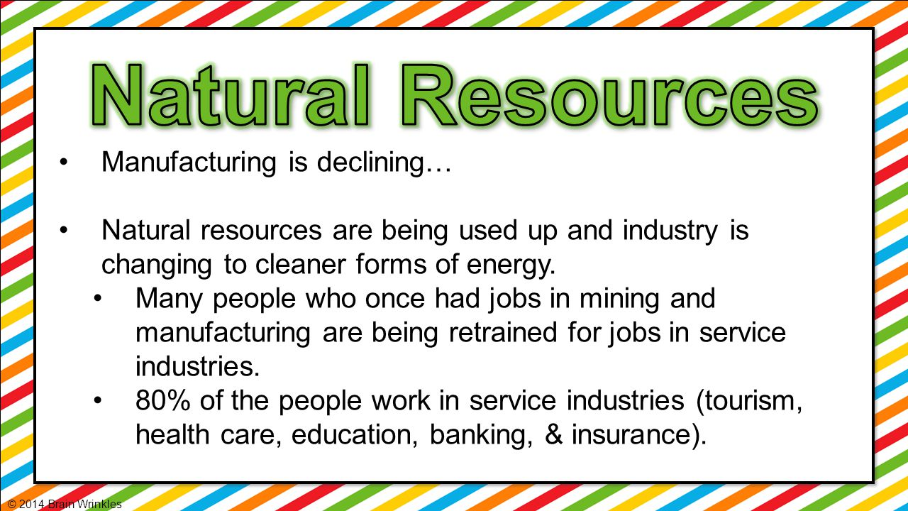 Natural Resources Manufacturing is declining…