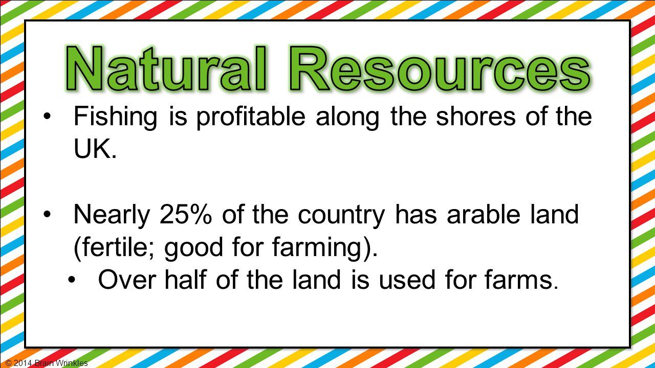 Natural Resources Fishing is profitable along the shores of the UK.