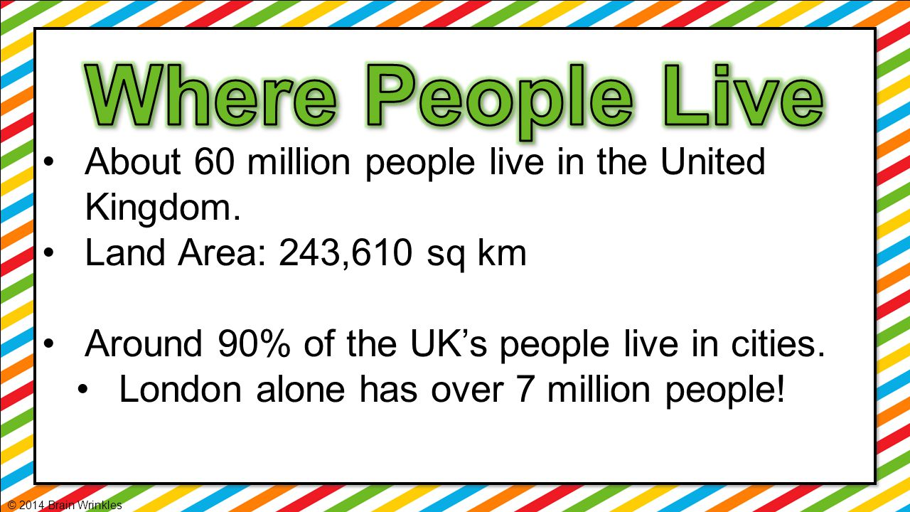 Where People Live About 60 million people live in the United Kingdom.