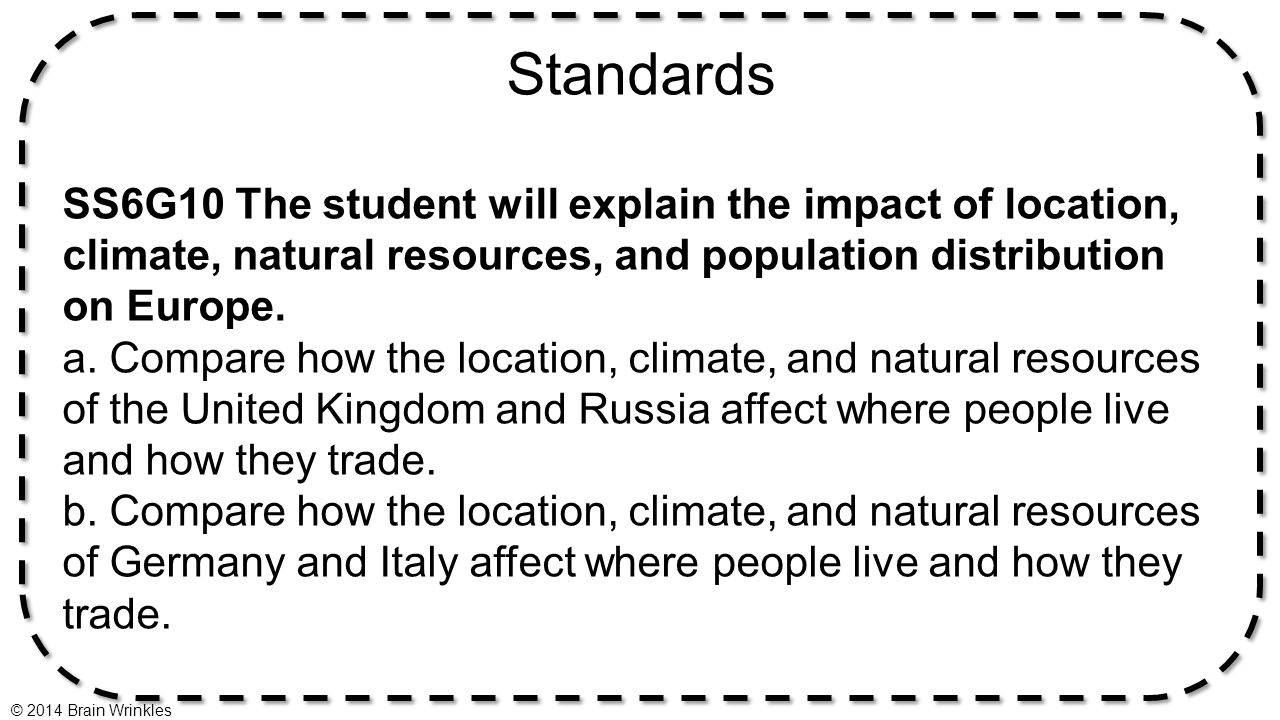 Standards SS6G10 The student will explain the impact of location, climate, natural resources, and population distribution on Europe.