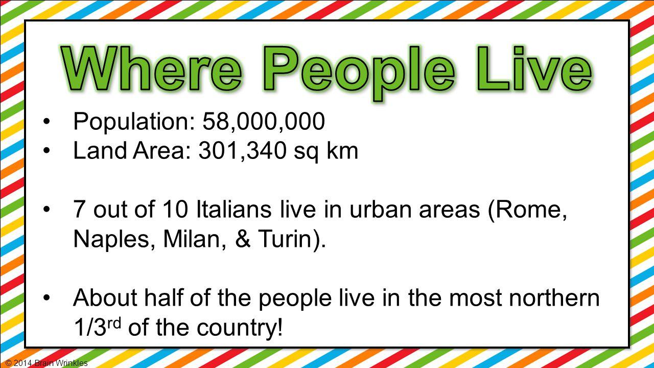 Where People Live Population: 58,000,000 Land Area: 301,340 sq km