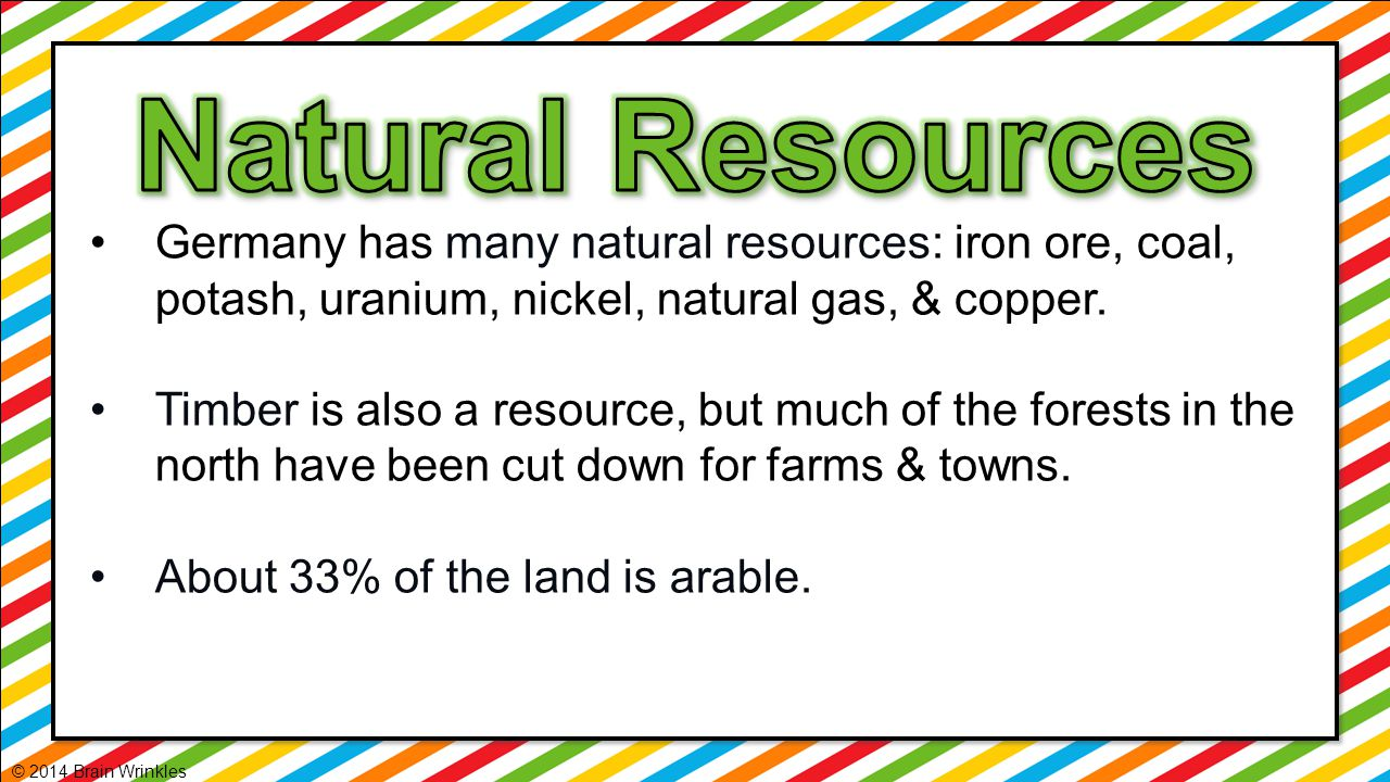 Natural Resources Germany has many natural resources: iron ore, coal, potash, uranium, nickel, natural gas, & copper.