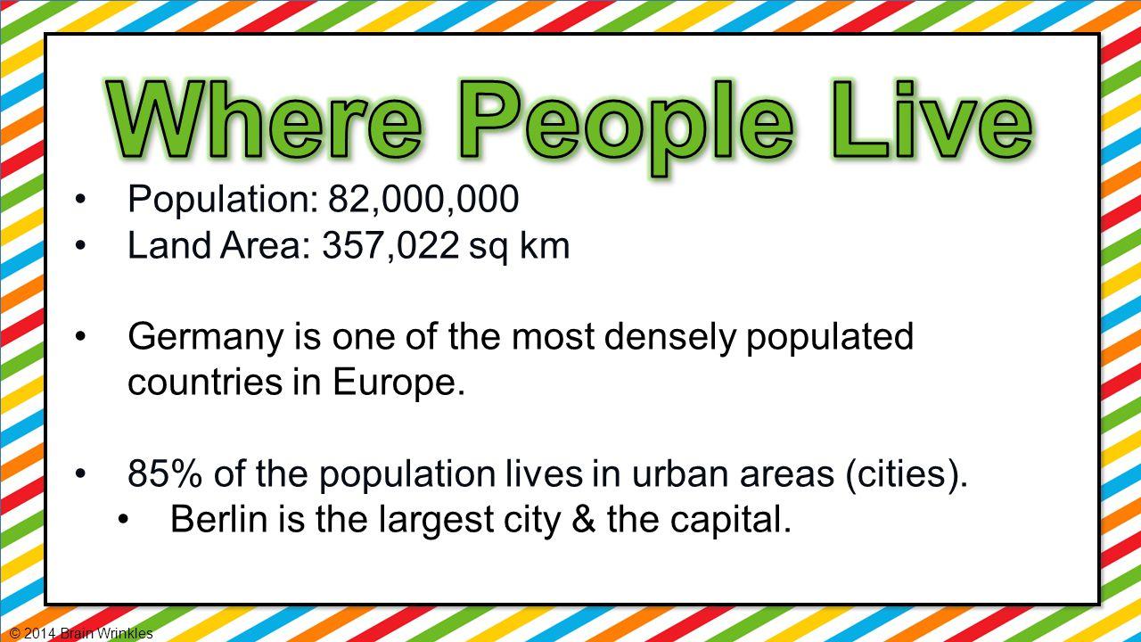 Where People Live Population: 82,000,000 Land Area: 357,022 sq km
