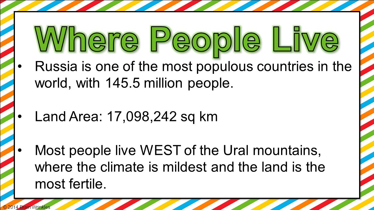 Where People Live Russia is one of the most populous countries in the world, with 145.5 million people.